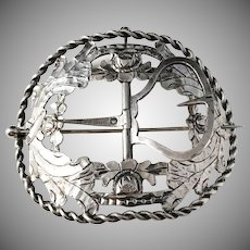 The Netherlands, year 1851 Victorian Huge Solid Silver Belt Buckle