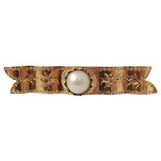 Adelgren & Carlsson Stockholm year 1892, Victorian 18k Gold Pearl in Memory Pin Brooch.