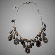 Vintage Marc Labat, Paris, France Costume Jewelry Etruscan Style Massive 3.2oz Necklace