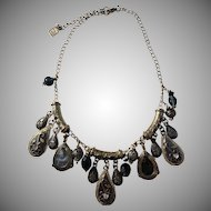 Vintage Marc Labat, Paris, France Costume Jewelry Etruscan Style Massive 3.2oz Necklace