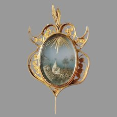 Important Georgian 18k Gold Painted Plaque Brooch. Gustaf Adolf Unér, Sweden year 1813-1833 . A museum object.