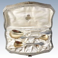 Art Deco WMF Wurttembergische Metallwarenfabrik, Germany 1920s Ice Cream Spoons. In original retailer box, -Royal warrant holder CG Hallberg