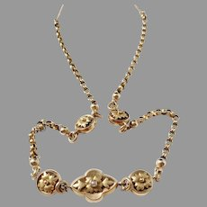 Lars Fredin (1825-64) Sweden Early Victorian 18k Gold Double Sided Necklace