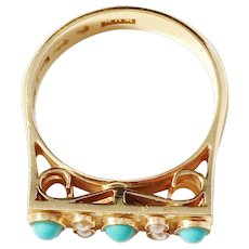 Michelsson, Stockholm year 1953 Mid Century 18k Gold Turquoise Seed Pearl Ring. Excellent.