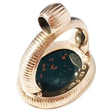Huge 16.8gram Georgian year 1815, maker Anders Hallman, Stockholm, 18k Gold Bloodstone Intaglio Seal Fob Pendant.