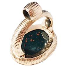 Huge 16.8gram Georgian year 1815, maker Anders Hallman, Stockholm, 18k Gold Bloodstone Intaglio Seal Fob Pendant.