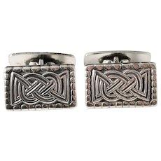 David Andersen Norway 1950s Sterling Silver Viking Pattern Copy Cufflinks