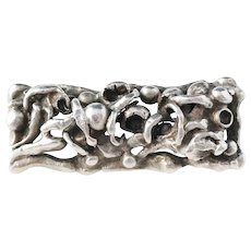 Sought After Aage Weimar, Copenhagen Denmark 1940s Solid Silver Organic Brooch.