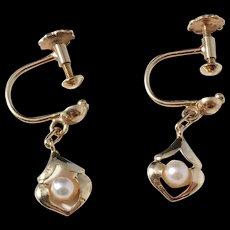Johan Pettersson, Stockholm Sweden Mid Century 18k Gold Seed Pearl Screw Back Earrings.