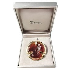 Vintage Daum France Art Glass Gilt Sterling Silver Brooch. In Original Box. Excellent.