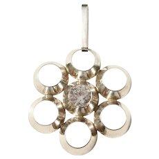 Bengt Hallberg, Sweden year 1971 Sterling Silver Rock Crystal Modernist Pendant.