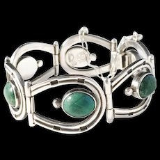 Los Ballesteros Taxco, Mexico Sterling Silver Chrysocolla Horseshoe Old Vintage Bracelet