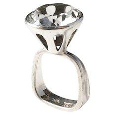 Bengt Hallberg, Sweden year 1967 Modernist Solid Silver Rock Crystal Ring.