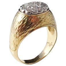 Italy 1960s 18k Gold 0.38ctw Diamond Mid Century Dome Ring. 10.2gram. Excellent.