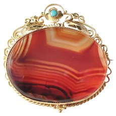 French Belle Epoque late Victorian 18k Gold Agate Turquoise Brooch
