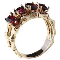 Vintage or Antique 14k Gold Bamboo Garnet Ring. Apparently Unmarked.
