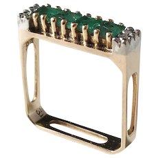 Vintage Modernist 14k Gold Diamond and Emerald Novelty Designer Ring.