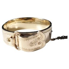 Bernhard Hertz, Copenhagen Denmark Edwardian c 1905 Gold Washed Sterling Silver Belt Buckle Bangle Bracelet.
