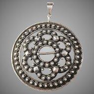 Norsk Filigranfabrikk, Norway Antique c 1900 Solid Silver Pendant. (remodeled brooch)
