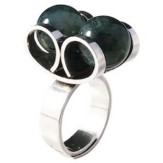 Elis Kauppi, Kupittaan Kulta Finland year 1973 Bold Modernist Sterling Silver Moss Agate Ring.