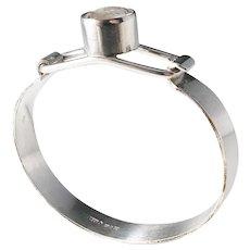 Isaac Cohen, Stockholm year 1969 Modernist Solid Silver Rock Crystal Bangle Bracelet
