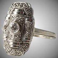 Art Deco Sweden year 1936 18k White Gold Old Cut and Rose Cut Diamond Ring.