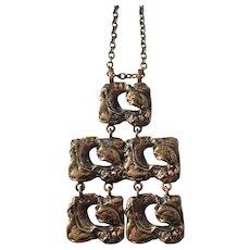 Large Modernist Brutalist Finnish 1970s Bronze Pendant Necklace.