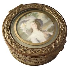 Antique French Victorian Bronze Copper Velvet Painted Trinket Ring Box