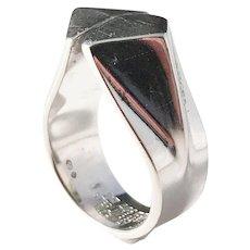 Anna Greta Eker, for PLUS Workshop Norway Modernist 1960s Sterling Silver Ring. Excellent.