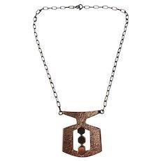 Finland Vintage 1970s Modernist Bronze Necklace