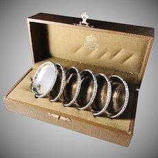 Royal Goldsmith CG Hallberg Stockholm. 6 Solid Silver Coasters 1923-1949. In original wooden box.