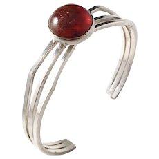 Niels Erik From, Denmark Modernist Sterling Silver Amber Open Bangle Bracelet. Excellent