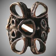 Studio Else and Paul, Norway 1960s Organic Modernist Bronze Ring. Excellent.
