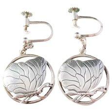 Lauritz Jensen, Copenhagen 1918-1937 Art Nouveau Solid Silver Butterfly Screw Back Earrings. Design no 15. Excellent.