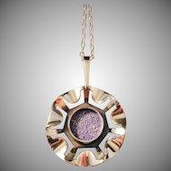 Huge 3.75in Bronze Modernist Pendant Necklace. KE Palmberg for Alton, Sweden 1970s