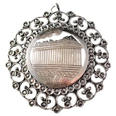 Mid Century 950 Sterling Silver Marcasite. Church Religious Pendant. Only Marked 950, Unknown Origin.
