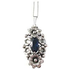 Guldvaruhuset, Sweden year 1946 Floral Blue Paste Solid Silver Pendant Necklace.