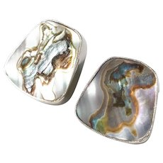 Bjerring Brothers, Copenhagen 1961-76 Sterling Silver Abalone Clip-On Earrings