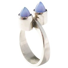 Much Sought After Elis Kauppi for Kupitaan Kulta, Finland Modernist Sterling Silver Chalcedony Ring