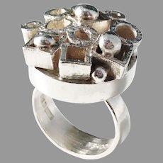 Isaac Cohen, Stockholm year 1970 Unique Modernist Brutalist Large Solid Silver Ring