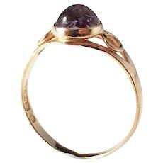 Alton, Sweden year 1956 Mid Century 18k Gold Amethyst Ring.