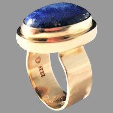 Anders Högberg Sweden year 1976 Modernist Unique 18k Gold Lapis Lazuli Ring. Massive 12.7gram