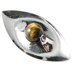 Elis Kauppi, Kupittaan Kulta Finland year 1963 Modernist Solid Silver Tiger Eye Brooch.