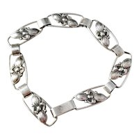 Tage Linde, Sweden year 1953 Mid Century Solid Silver Flower Bracelet.