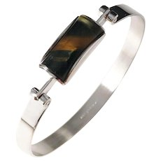 Martti Viikinniemi, Finland year 1964 Solid Silver Tiger Eye Bangle Bracelet. Excellent.