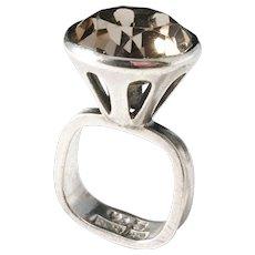 Bengt Hallberg, Sweden year 1965, Modernist Solid Silver Smoky Quartz Ring.