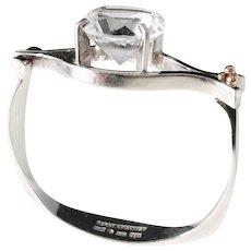 Bernt Högkvist, Stockholm year 1978 Unique Signed Sterling Silver 18k Gold Detail Huge Rock Crystal Bangle Bracelet.