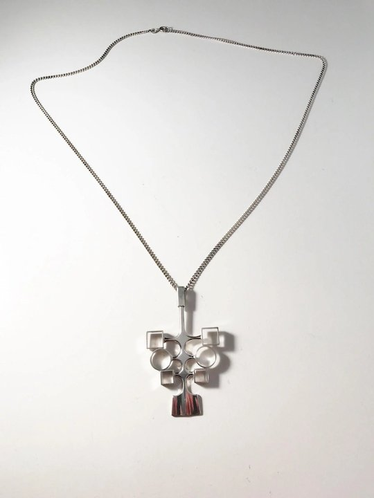 e49e08fb834 Bjorn Sigurd Ostern for David Andersen, Oslo Norway 1960s, Sterling Silver  Pendant Necklace.