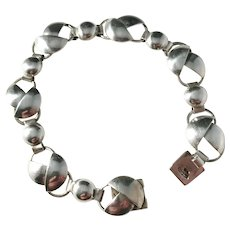 Pinco, Stockholm year 1956, Mid Century Modern Solid Silver Bracelet.