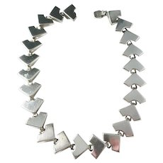 Atelier Borgila, Stockholm year 1958 Mid Century Modern Solid Silver Collar Choker Necklace.